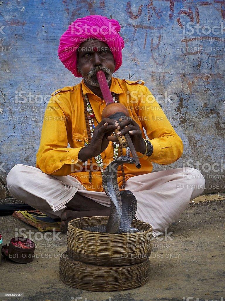 Snake Charmer Playing Flute For Cobra stock photo