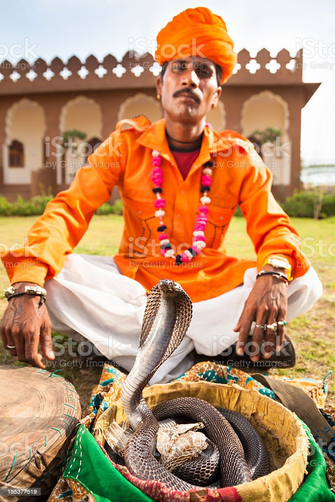 Snake Charmer with his Cobra stock photo
