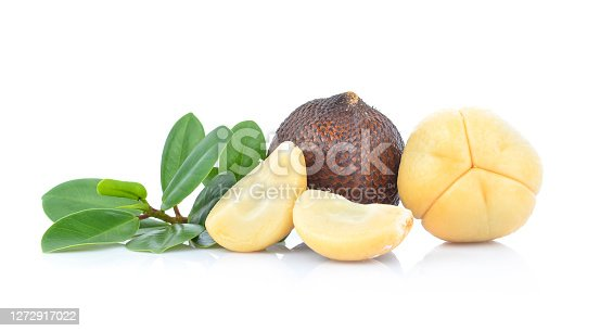 Snake fruit,Salacca,zakacca (Salak Indo) with green leaves isolated on white background