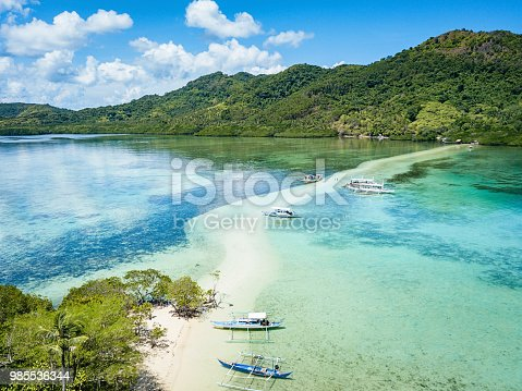 Snake Island - Vigan Island El Nido - famous beach spot due to its snake like shaped sandbar between the two islands. Aerial Drone Point of View. Bacuit Bay, El Nido, Palawan Island, Philippines, Asia