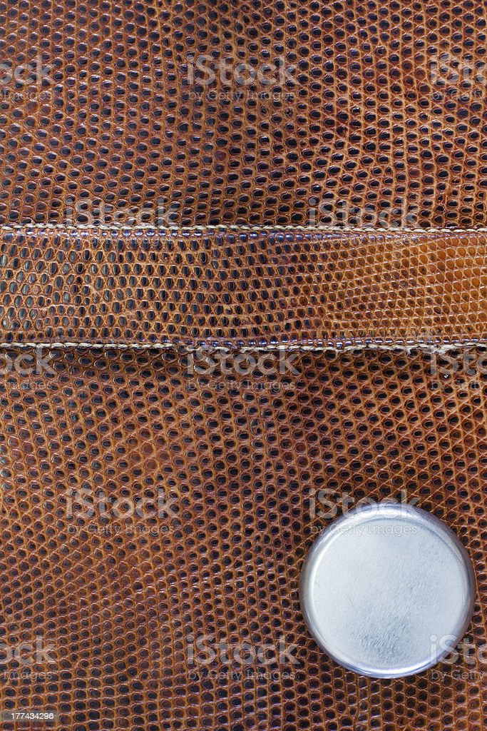 Snake leather texture with metal button royalty-free stock photo