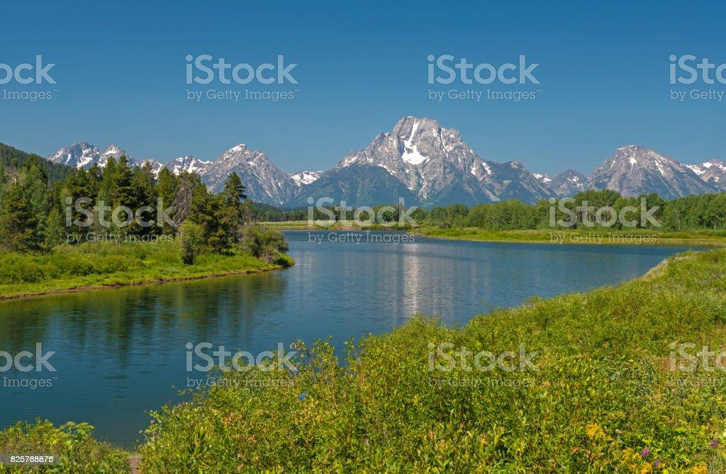 Snake River and Grand Teton Range stock photo