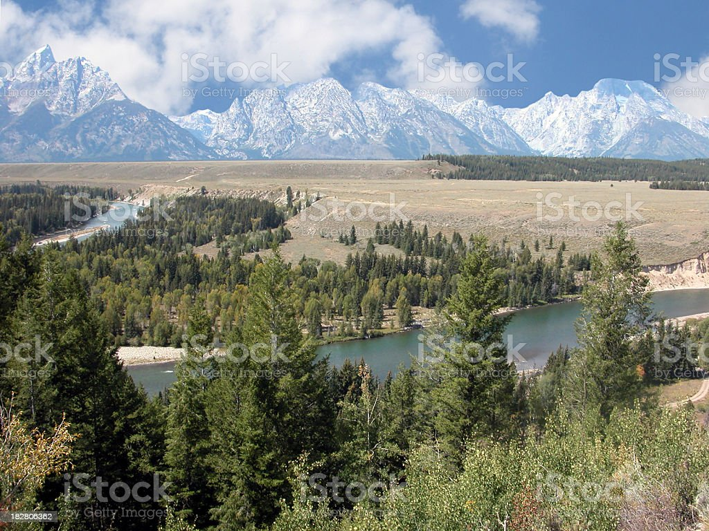 Snake River and the Tetons, Wyoming, USA stock photo