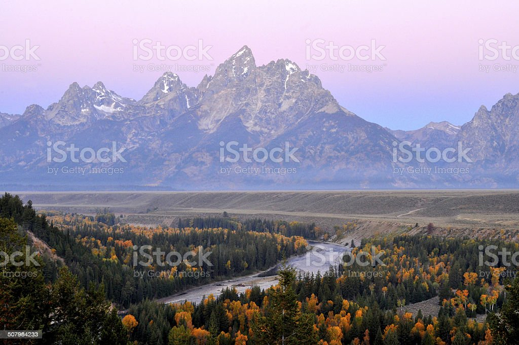Snake River at sunrise in The Grand Tetons. royalty-free stock photo