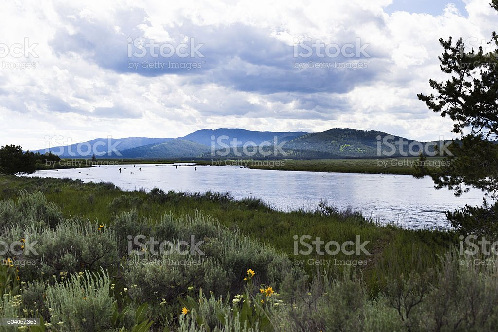 Snake River Fishermen stock photo