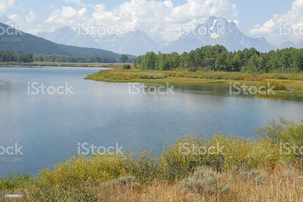 Snake River flows quietly at Oxbow Bend in Grand Tetons royalty-free stock photo