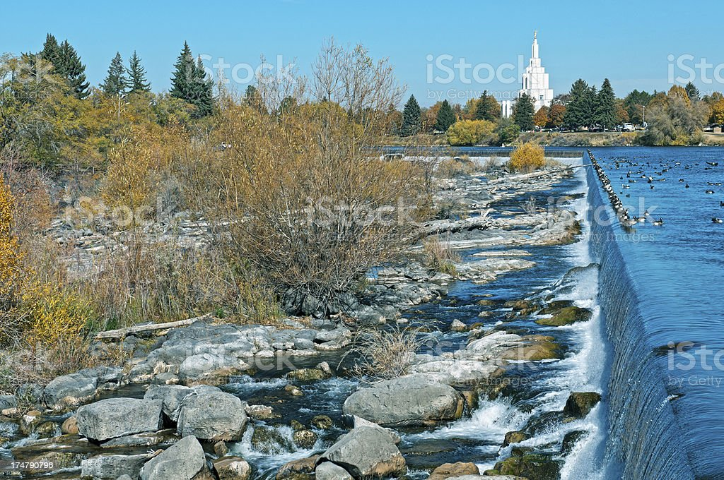 Snake River in Idaho Falls ID royalty-free stock photo