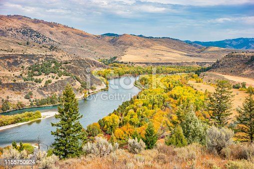Stock photograph of the Snake River near Swan Valley Idaho USA on an autumn day.