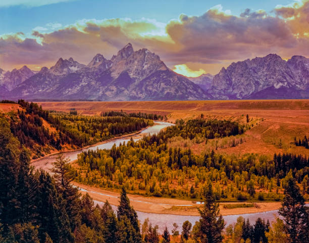 Snake River Overlook at sunset  in Autumn at Grand Teton National Park stock photo