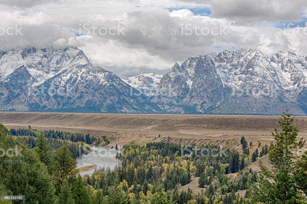 Snake River Overlook in Grand Teton National Park stock photo