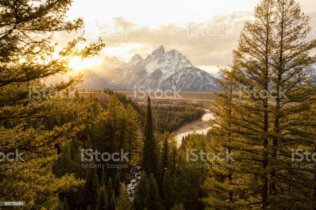 Snake river sunset stock photo