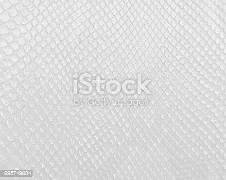 istock Snake skin texture in white color, modern bright white background. 695749634