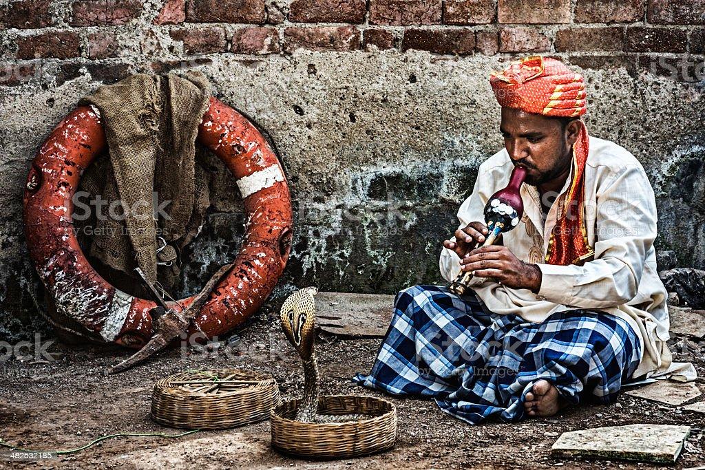 Snakecharmer in India stock photo