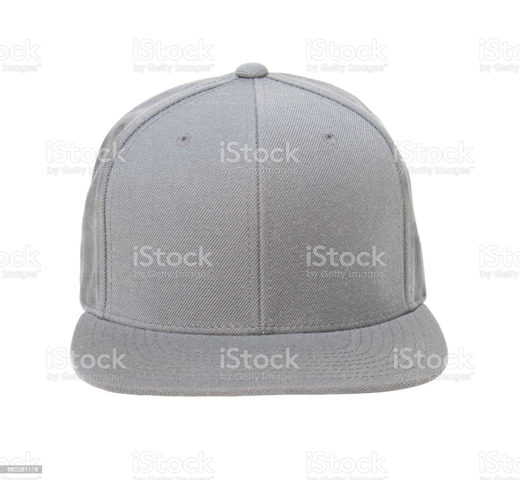Snap back hat color grey front view stock photo