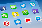Snapchat, Whatsapp and other social media Apps on iPad screen