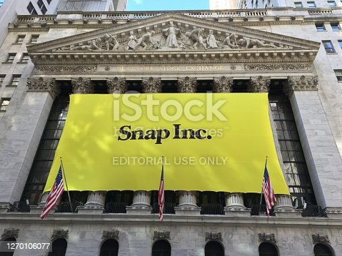 NEW YORK CITY, NY- March 2, 2017: Snapchat's Snap Inc. makes IPO debut on the New York Stock Exchange. Investors flocked to initial public offering, pushing valuation of nearly $24 billion.