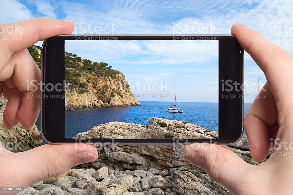 Snapshot of a seascape on mobile phone stock photo