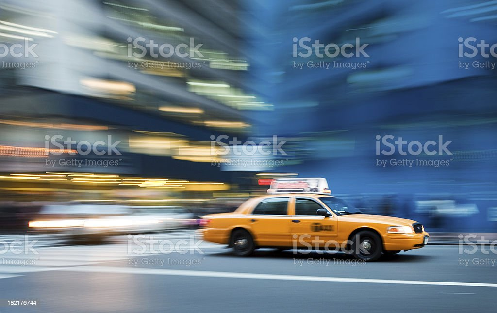 Snapshot of speedy car driving in street royalty-free stock photo