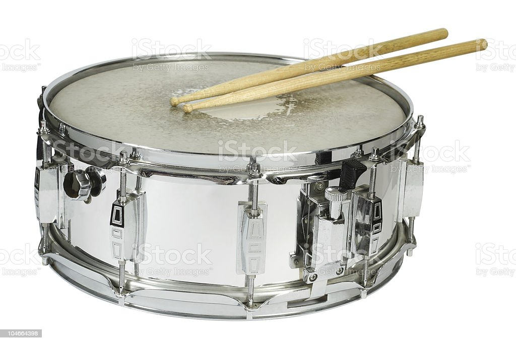 Snare drum and sticks isolated stock photo