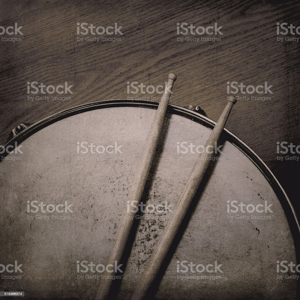 Snare Drum and Sticks stock photo