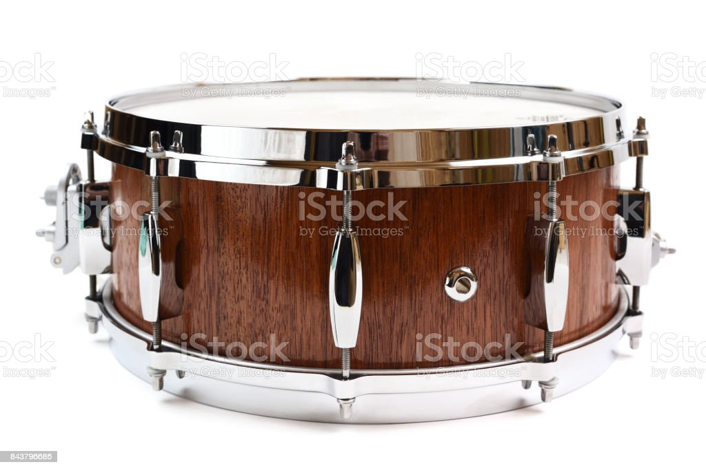 Snare drum made with merbau wood isolated stock photo