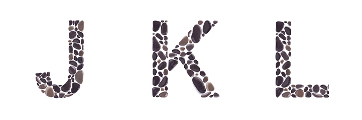 J K Snd L Letters Made Of Stones Isolated On White Background Stock Photo - Download Image Now