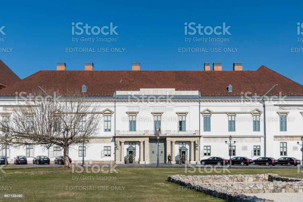 Sándor Palace facade in Budapest stock photo