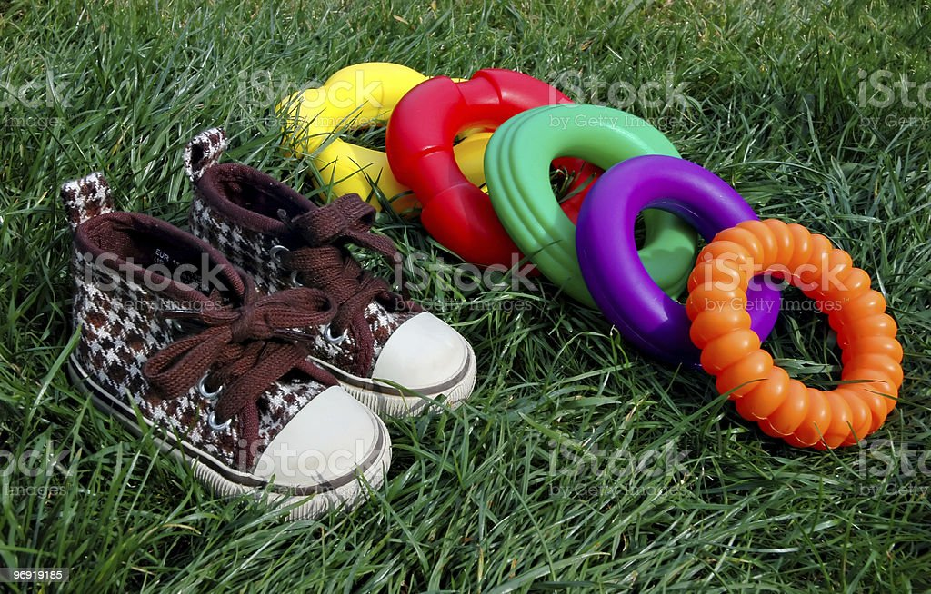 Sneakers and toys royalty-free stock photo