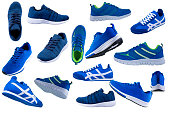 Sneakers. Blue sport shoes side view