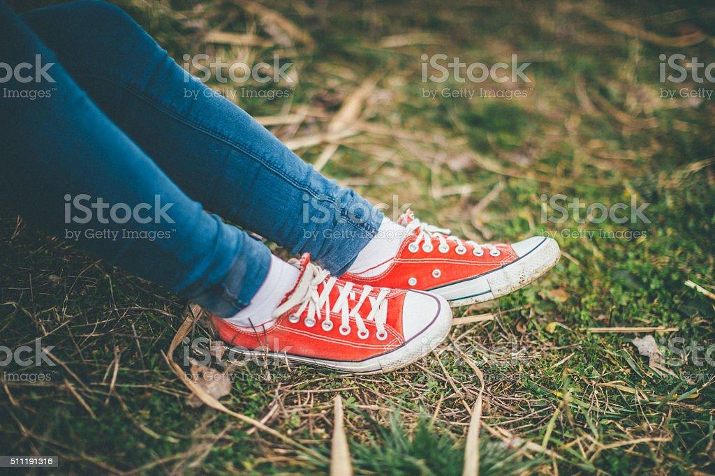 Tênis na grama - foto de acervo