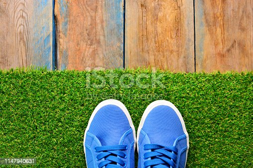Sneakers shoes on a green grass. Footwear shop background for a banner design.