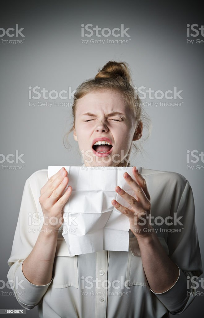 Sneeze stock photo
