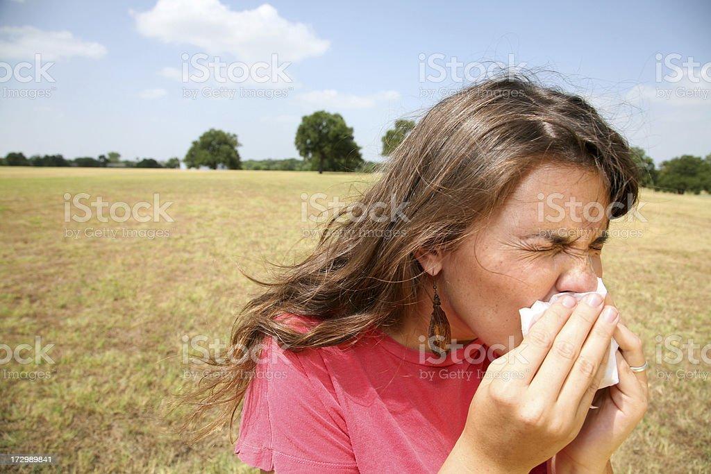 Sneezing Girl royalty-free stock photo