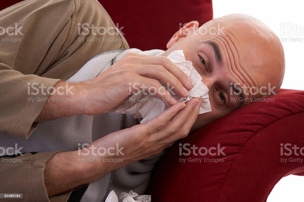 sneezing man royalty-free stock photo