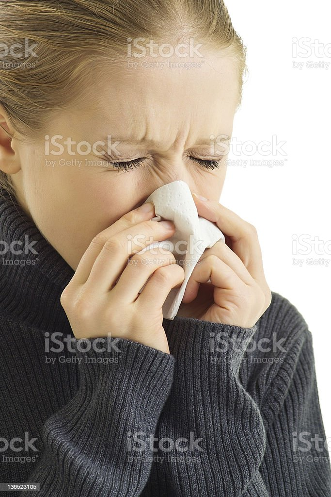 sneezing woman royalty-free stock photo