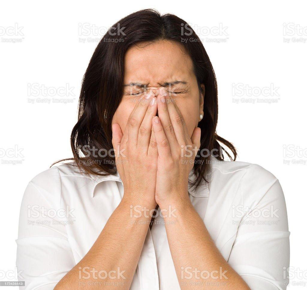 Sneezing Woman royalty-free stock photo