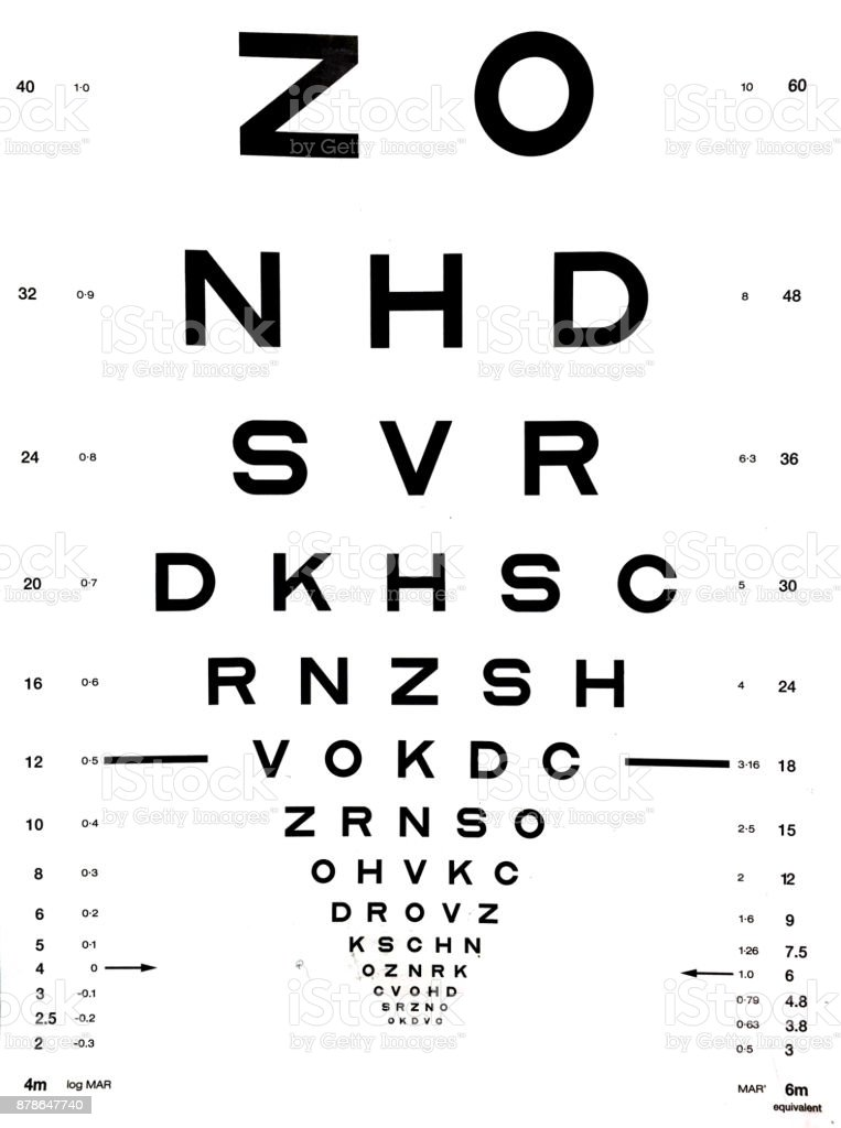 Snellen eye chart stock photo