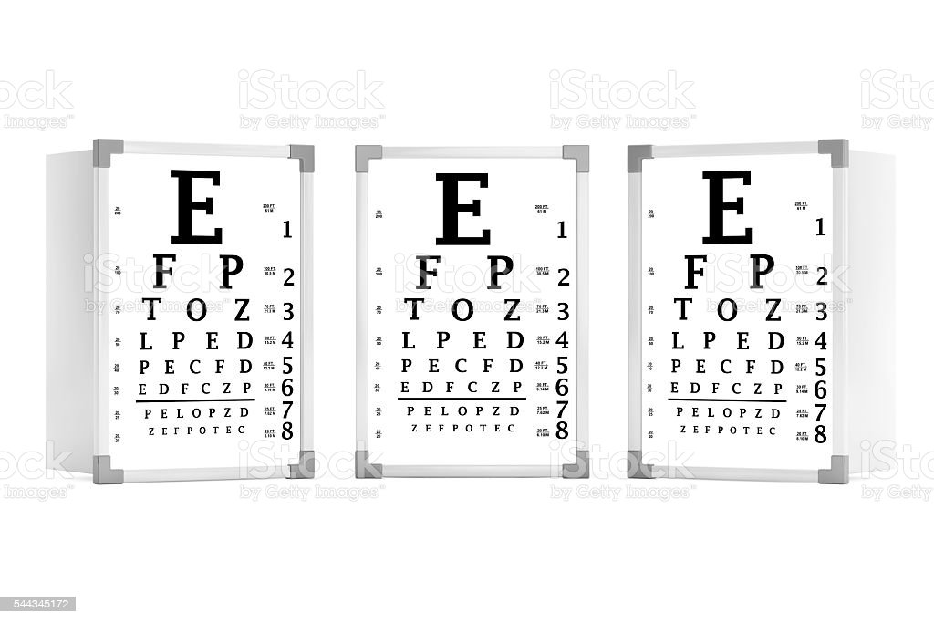 Snellen Eye Chart Test Boxes 3d Rendering Stock Photo