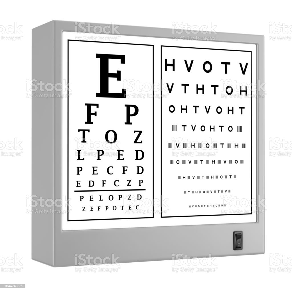 Snellen Eye Chart Test Light Box 3d Rendering Stock Photo