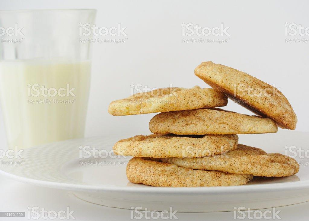 Snickerdoodle cookies with organic milk stock photo
