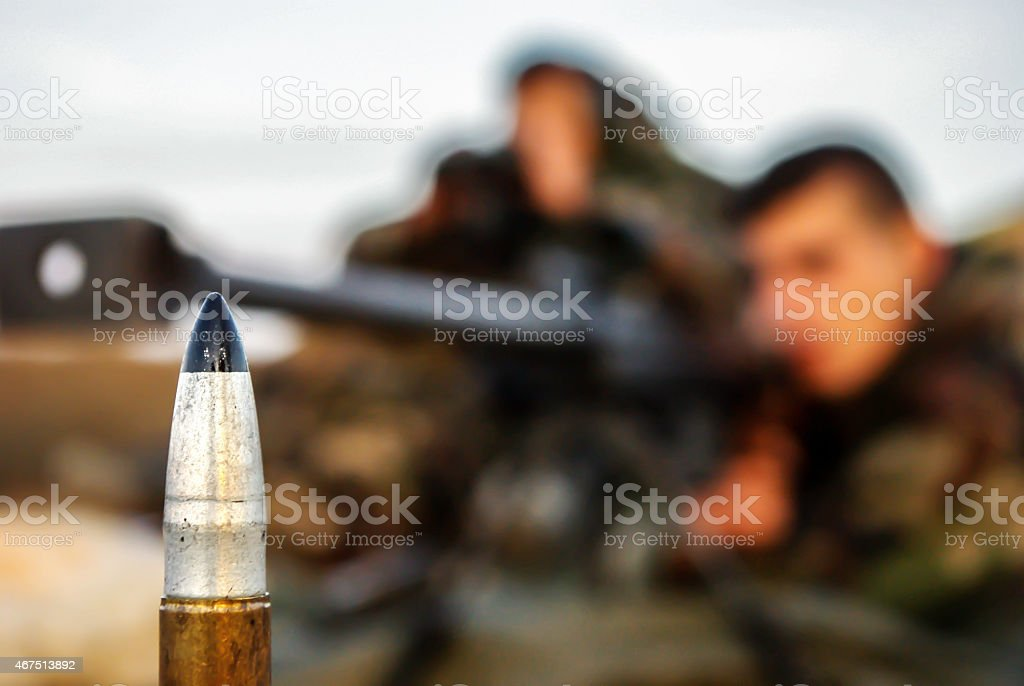 Sniper ammunition stock photo