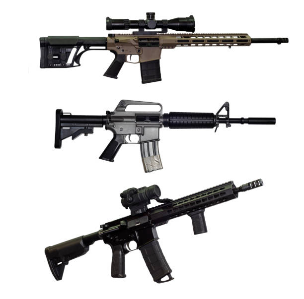 Sniper and ssault rifle on white background Sniper and ssault rifle on white background ar 15 stock pictures, royalty-free photos & images