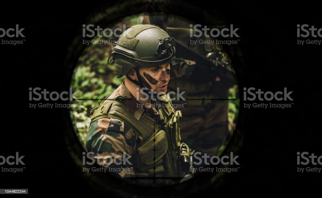 Sniper gun scope view stock photo