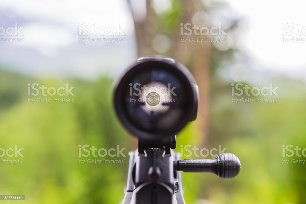 Sniper gun scope view. stock photo