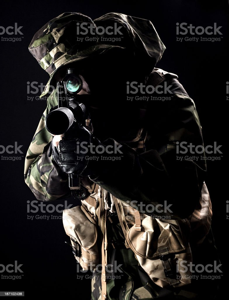 Sniper in the dark royalty-free stock photo