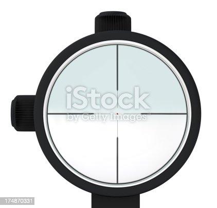 Sniper optical sight. Digitally generated image isolated on white background