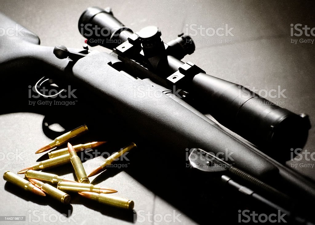 Sniper Rifle and bullets stock photo