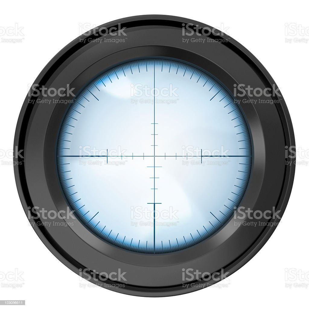 Sniper rifle lens isolated on white stock photo