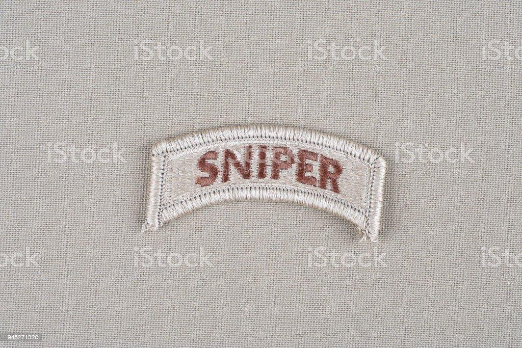 US ARMY sniper tab stock photo
