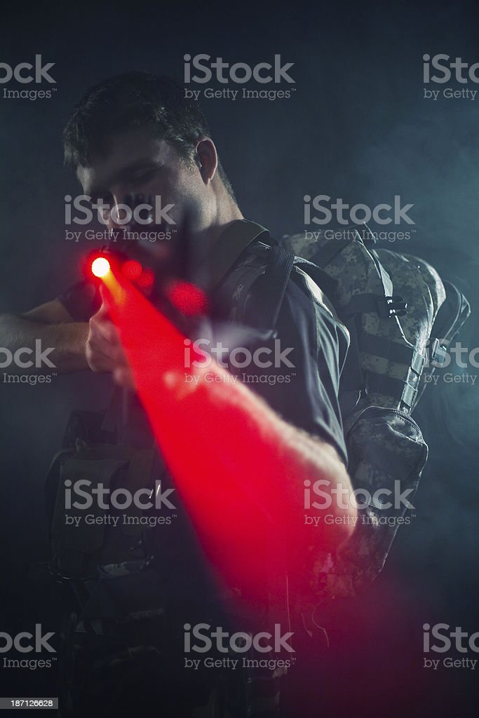 Sniper with laser gun stock photo